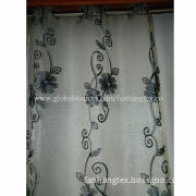 Embroidered fabric window curtain, size 52 x 84 inches, 8 grommet, standard export packing manner