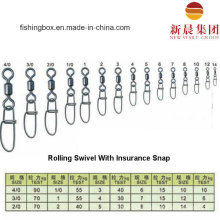 Brass Material Rolling Swivel with Insurance Snap Fishing Swivel