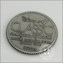 Moneda plateada plata antigua del metal con el logotipo grabado (GZHY-JZ-083)