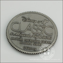 Moeda antiga do metal chapeada de prata com logotipo gravado (GZHY-JZ-083)