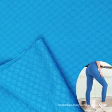 textured custom plain stretch knit jacquard nylon lycra fitness pants fabric for women