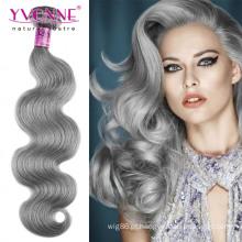 Extensão de cabelo brasileiro cinza de qualidade superior