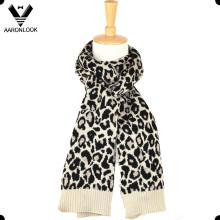 Женская зимняя акриловая шерсть смешанного жаккардового леопардового шарфа