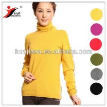 100% cashmere women's basic design sweater for winter