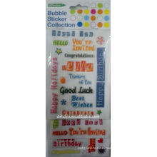 Luck Words buble epoxy stickers