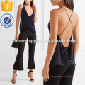 Veludo e Crepe Mergulhando Camisola Decote Fabricação Atacado Moda Feminina Vestuário (TA4102B)