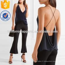 Velours et Crêpe Plongeant Décolleté Camisole Fabrication En Gros Mode Femmes Vêtements (TA4102B)