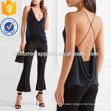 Velvet and Crepe Plunging Neckline Camisole Manufacture Wholesale Fashion Women Apparel (TA4102B)