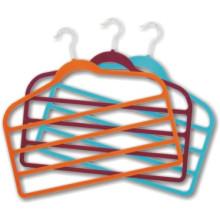 Heiße Stemped Logo samt Seide Handtuch Hanger billige Kunststoff Kleiderbügel