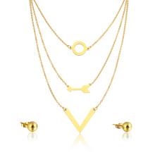 Banhado A ouro Flecha Venda Quente Em Camadas Colar Atacado Mulheres Estilo Jóias Set