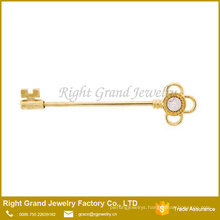 White Synthetic Opal Key Gold Surgical Steel Industrial Barbell