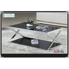 Black Tempered Glass Tea Table (XF-1406)