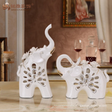 Unique design hollow animal ceramic elephant figurines for wedding favors