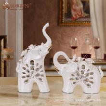 Уникальный дизайн полые керамические фигурки животных слон для свадебной
