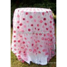 Organza elegante bordado toalha de mesa, sobreposição, toalha de mesa de casamento