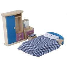 Деревянная мебель для мини-игрушек Маленькая синяя спальня для игры в игрушки YT1116
