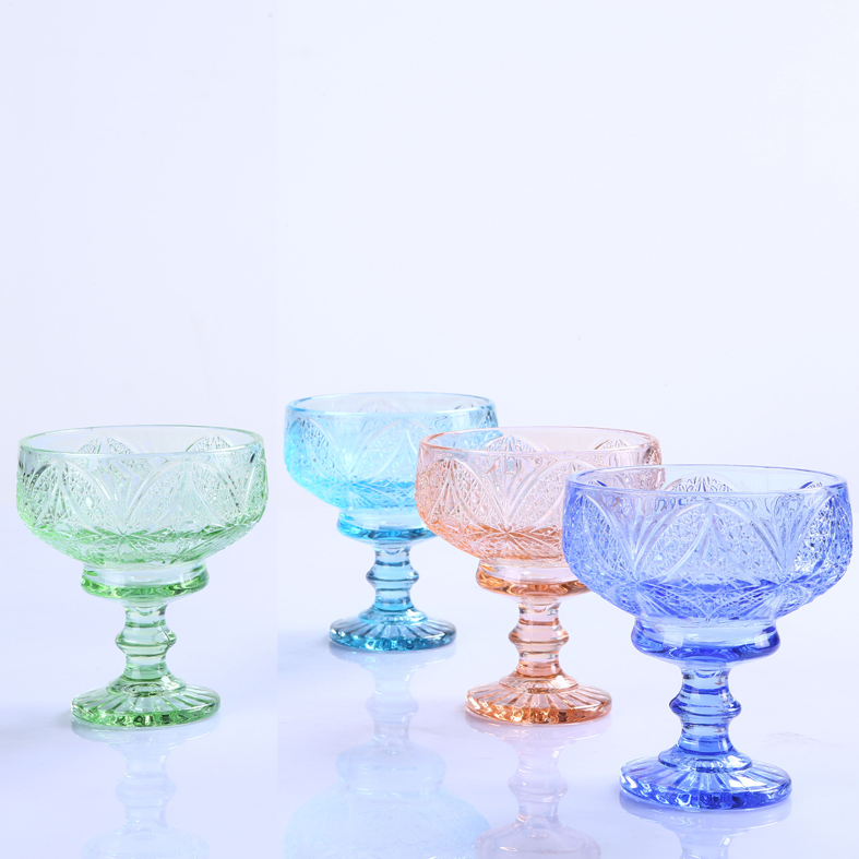 Br 9103 Supply Florid Colorful Glass Ice Cream Bowl