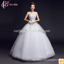 Beading puffy ball gown multilayer lace appliques cheap plus size Alibaba online wedding dress