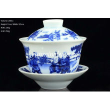 """Chinese Kids Playing"" Blue and White Gaiwan 200cc"