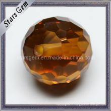 Brown Checker Cut Round Ball avec trou Zircnoia cubique