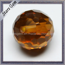 Brown Checker Cut Round Ball with Hole Cubic Zircnoia