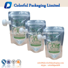 2016 China ODM flat transparent stand up spout pouch reusable juice spout pouch with bottom ziplock