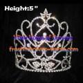 5inch Heart Unique Crystal Queen Crowns