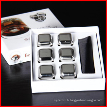 Pierres de Whisky de vin de haute qualité 304 Pierres de glace de whisky inoxydable Glace cube