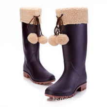 Women's PVC Rain Boots with Unremovable Fleece Lining to Keep Warm