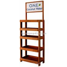 Kokosmilch Großhandel kundenspezifische Einzelhandelsgeschäft-Befestigungs-Fußboden-stehende 5-Schicht-Regale Kirschholz-Anzeige