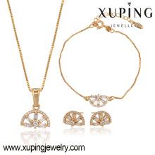63775 18 Karat Gold Schmuck Großhandel Mode zarte weiße Diamantohrring Armband und Halskette vergoldet Schmuck-Sets