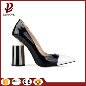 high black heel rubber sharp toe shoes