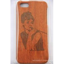 Housse de protection en bois faite sur mesure pour iPhone Housse de bois en bambou gravée au laser d'origine