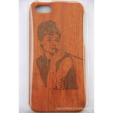Slick hizo la caja del teléfono de madera para iPhone Original cubierta de madera de bambú con grabado láser