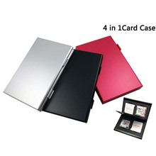 4 in 1 Protective Metal Box Aluminum Game Card Holder Cartridge Anti Dust Memory Card Case Box For Nintendo 3DS