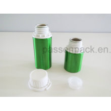 Green Metal Aluminum Bottle with White Tamper Proof Cap
