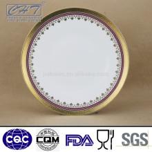 """Fine Bone China 11 """"Farbe und geprägte Gold Design Display Platte"""