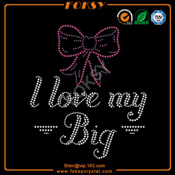 OEM for China  Cheer Rhinestone Transfer, Cheerleader Rhinestone Transfer, Cheer Rhinestone Iron On Transfers Factory I love my big bow t shirt bling iron on export to Belarus Exporter