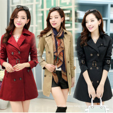 High Quality Antumn Women Lapel Cashmere Long Parka Jacket with Belt