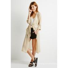 Fashion Long Sleeve Belted Drapey Crepe Jacket