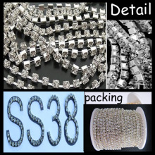 SS38 Silver Plating Round Base Claw Diamante Cup Chain