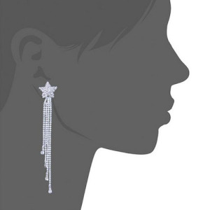 Large Long Rhinestone Bridal Wedding Earrings