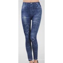 Damen nahtlose Fitness blau Denim Jean gedruckt Leggings