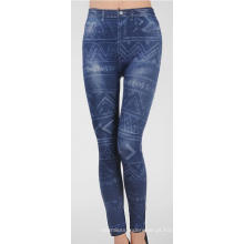 Ladies Fitness sem costura azul Denim Jean caneleiras impressas
