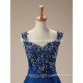 Vestido de noche elegante del cordón de las mujeres de la manera mini azul suave corto