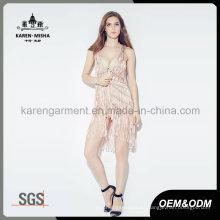 Karen Pink Chaleco de punto tejido con espalda neta