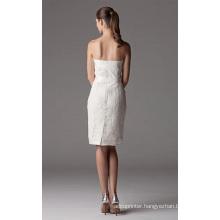 Sheath Column Strapless Knee-length Lace Ribbon Wedding Dress