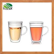 Mouthblown Double Wall Glass Cup Coffee Mug