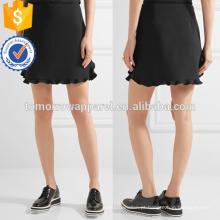 Black Ruffle Aparado Cady Mini Saia OEM / ODM Fabricação Atacado Moda Feminina Vestuário (TA7004S)