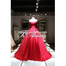 High Quality ball Gown Wedding Dress For Pure Girl/Cream Colored Bow knot Beautiful Modern Strapless Wedding Dress For 2016
